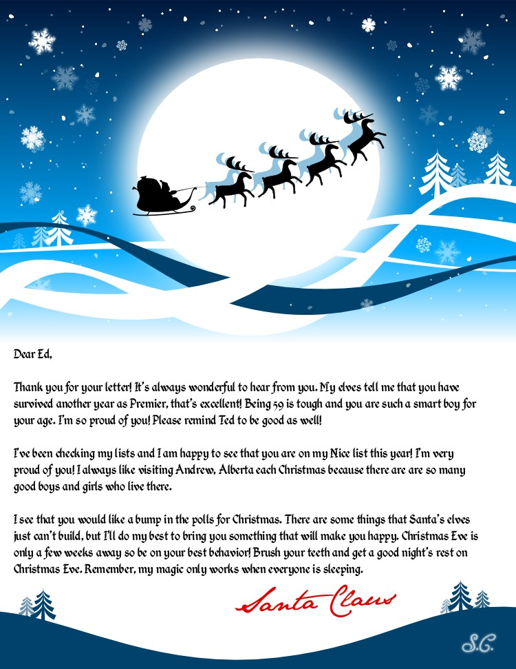 Leaked Santa Claus Letter To Premier Ed Stelmach