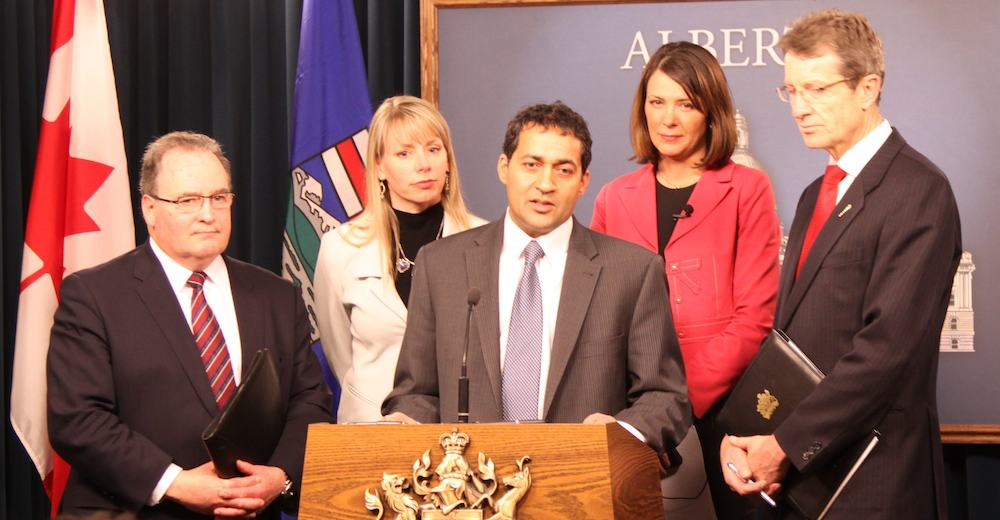 March 2011, Independent MLA Raj Sherman stood with NDP leader Brian Mason, Alberta Party leader Sue Huff, Wildrose leader Danielle Smith and Liberal leader David Swann.