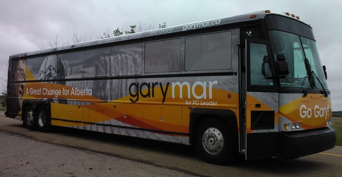 A photo of Alberta PC candidate Gary Mar's campaign bus.