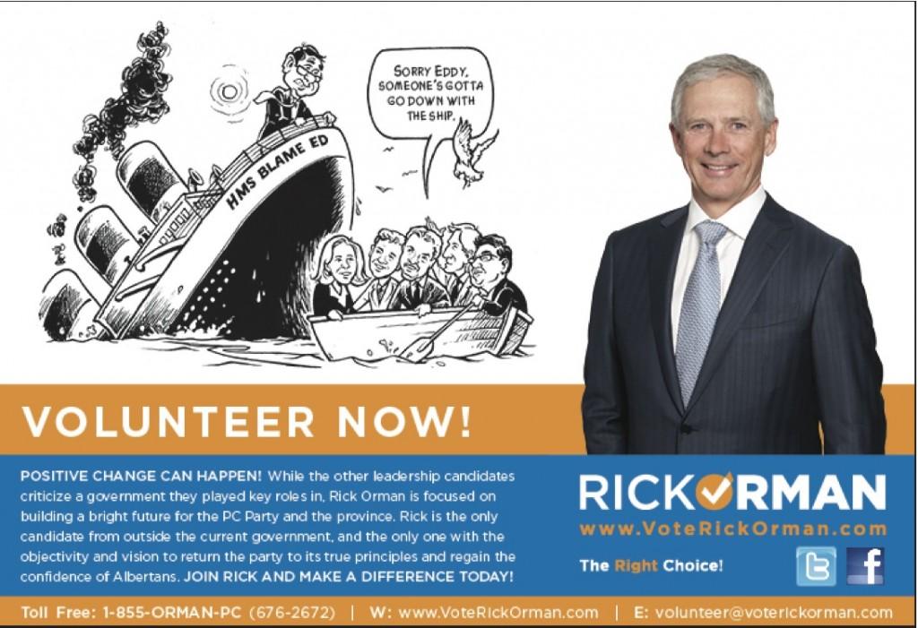 Rick Orman Stelmach sinking ship Calgary Herald Ad