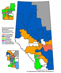 Map of MLA support in the 2011 Alberta PC leadership contest (August 11, 2011)
