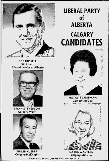 Alberta Liberal Party Calgary candidates 1971 Election Ad