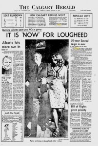 Calgary Herald August 31, 1971 Peter Lougheed Alberta Election Now