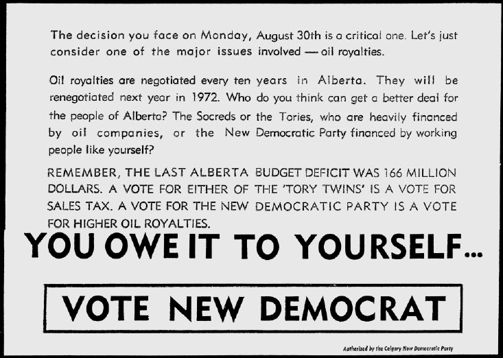 "Alberta NDP 1971 Election Ad ""You owe it to yourself"""