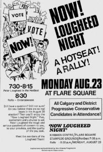 Alberta Progressive Conservative Rally Ad 1971 Election