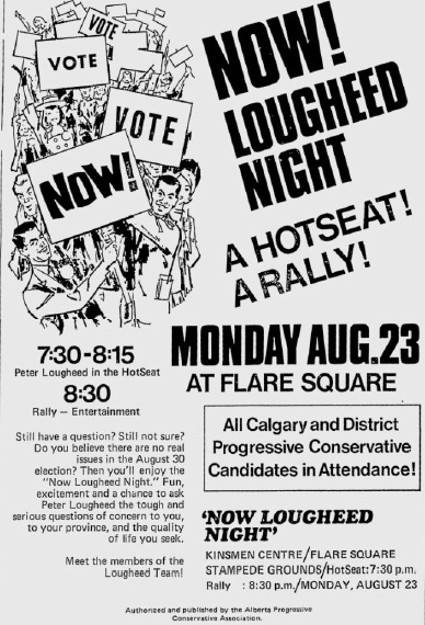 Alberta Progressive Conservative Rally Ad 1971 Election