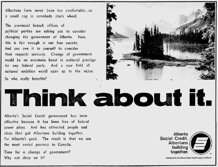Alberta Social Credit 1971 Election Campaign Ad Think About It