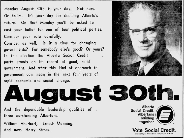 "Alberta Social Credit 1971 Election Campaign Ad ""August 30"""