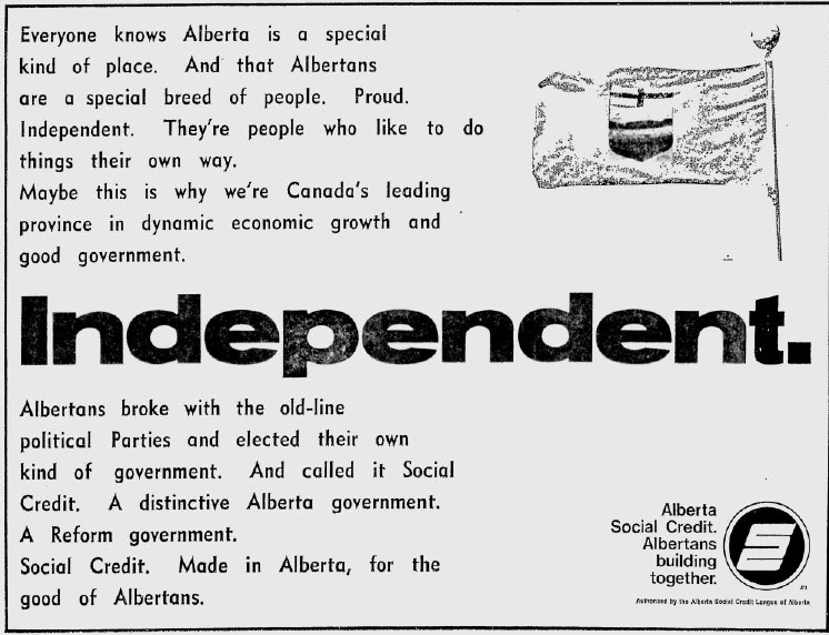 "Alberta Social Credit 1971 Election Campaign Ad ""Independent"""