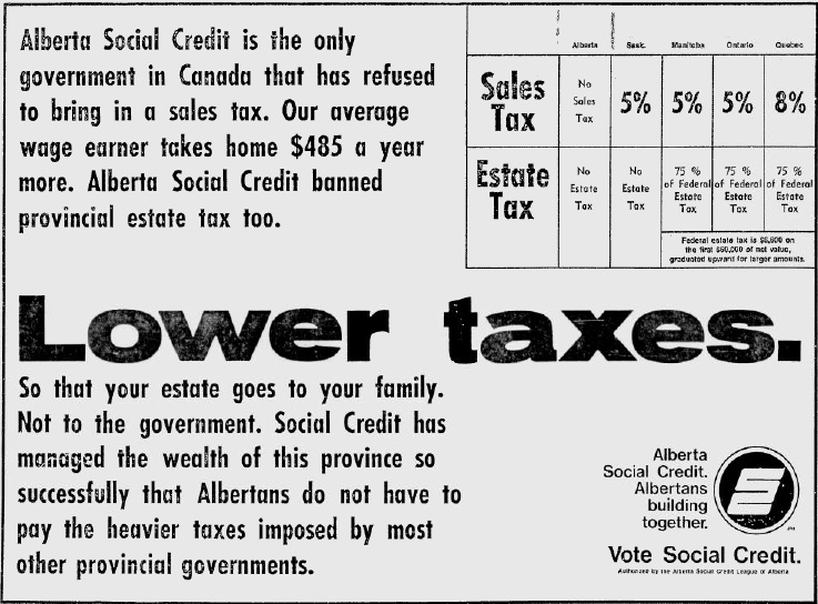 "Alberta Social Credit 1971 Election Campaign Ad ""Lower Taxes"""