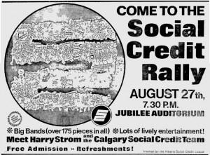 Alberta Social Credit Rally Ad 1971 Election