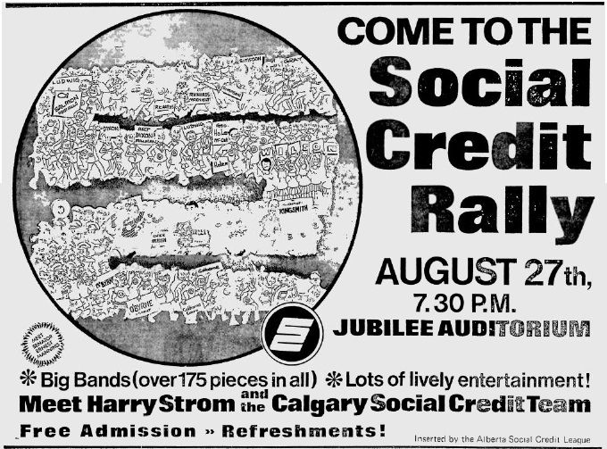 Alberta Social Credit Rally Ad 1971 Election