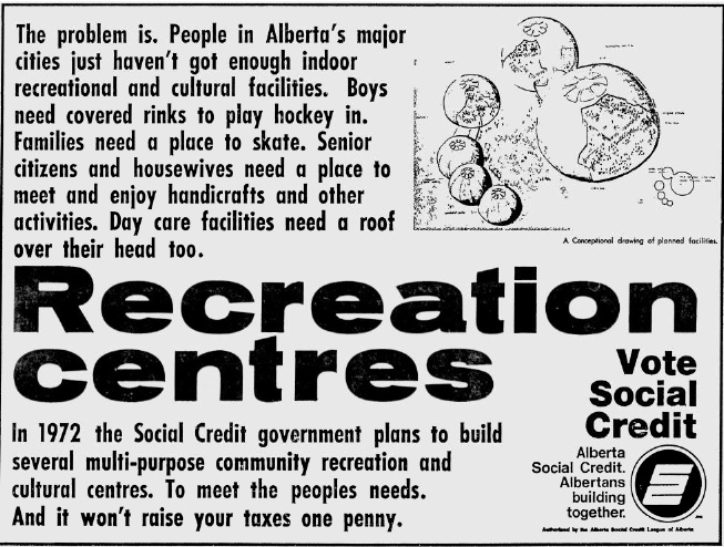 "Alberta Social Credit 1971 Election Ad ""Recreation Centres"""