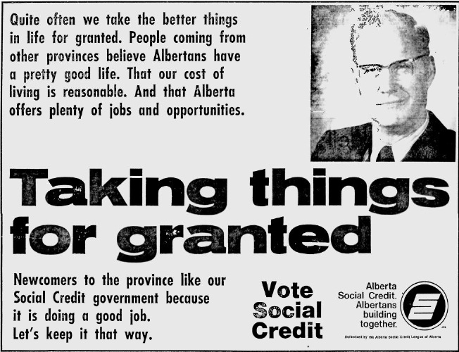 "Alberta Social Credit 1971 Election Ad ""Taking Things for Granted"""