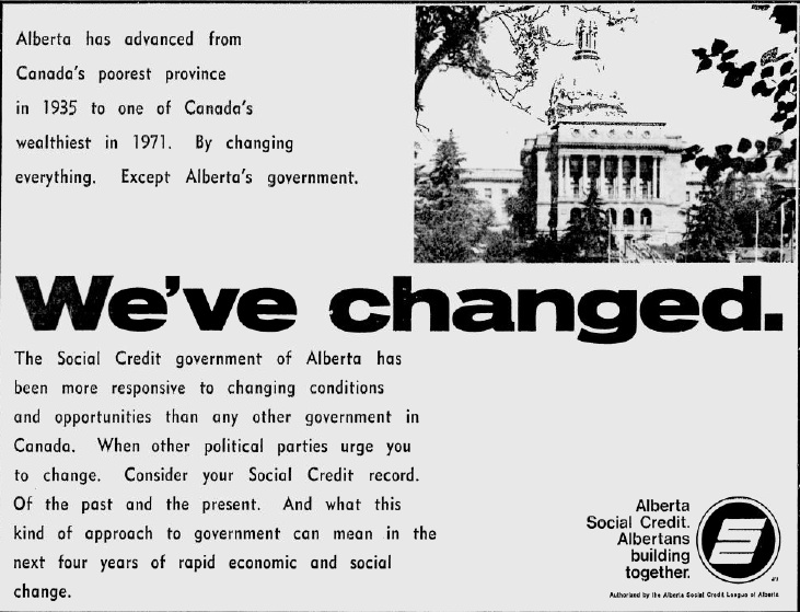 "Alberta Social Credit 1971 Election Campaign Ad ""We've Changed"""