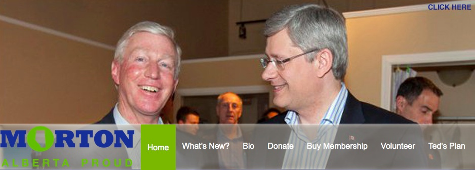Alberta PC leadership candidate Ted Morton and Prime Minister Stephen Harper.