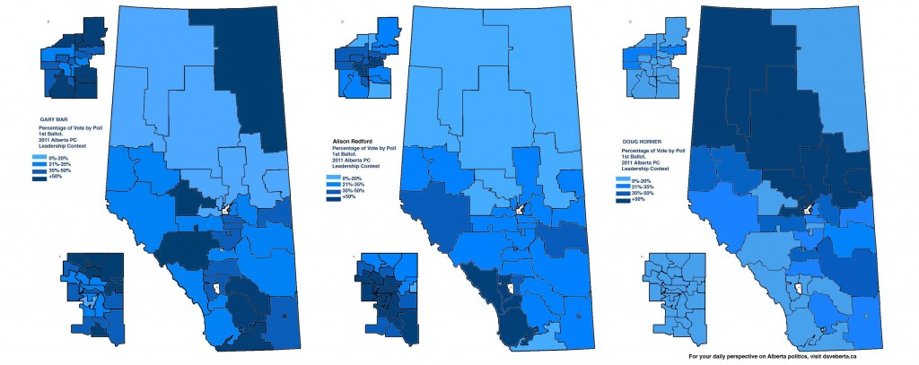 Maps from October 1, 2011 results: Percentage of PC voter support for Gary Mar, Alison Redford, and Doug Horner. (Click to enlarge)