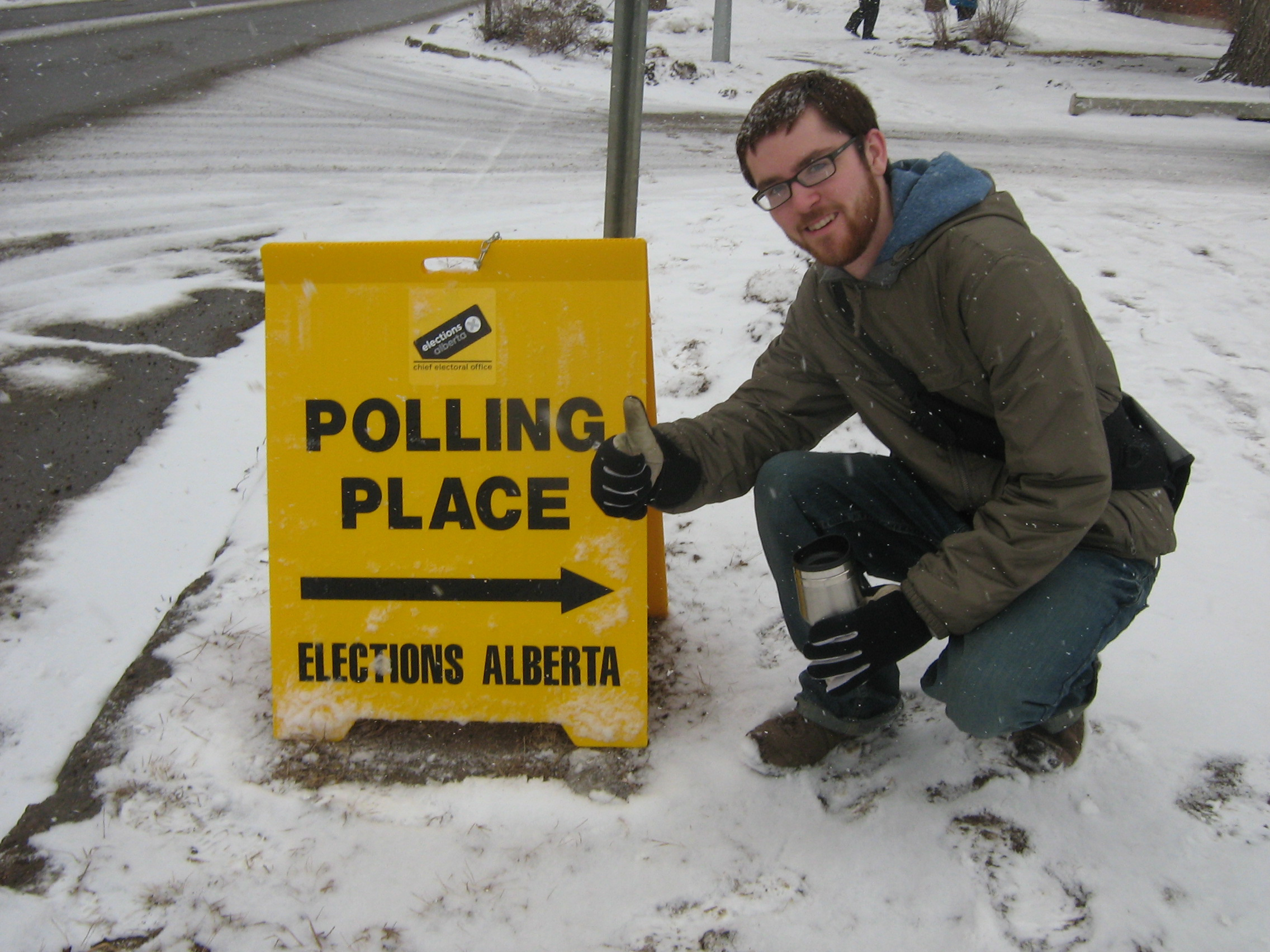 A photo of me at my voting station in the 2008 Alberta provincial election.