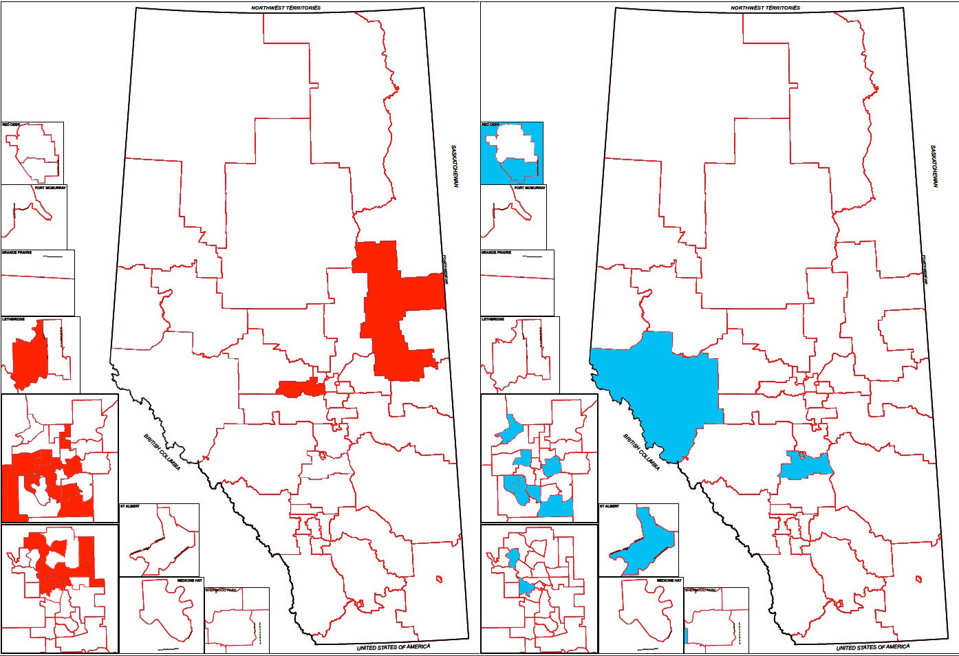 Map of constituencies with nominated Liberal and Alberta Party candidates (January 17, 2012)