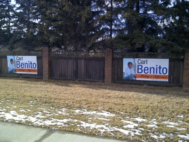 Carl Benito Edmonton-Mill Woods MLA Sign 1