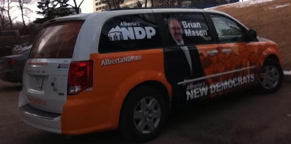 Alberta NDP leader Brian Mason's campaign mini-van.