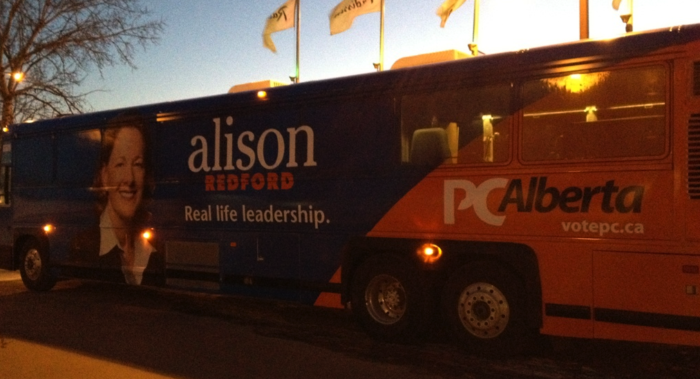 Alberta PC Alison Redford campaign election bus