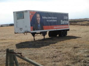 John Barlow trailer Progressive Conservative Highwood Alberta Election 2012