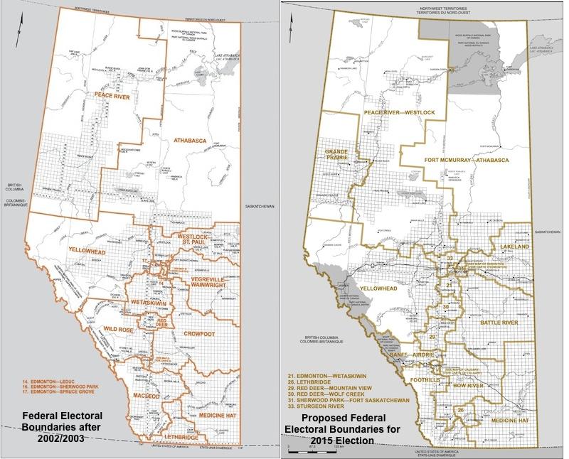 Map of Alberta Federal Electoral Boundaries 2004 and 2015 proposed