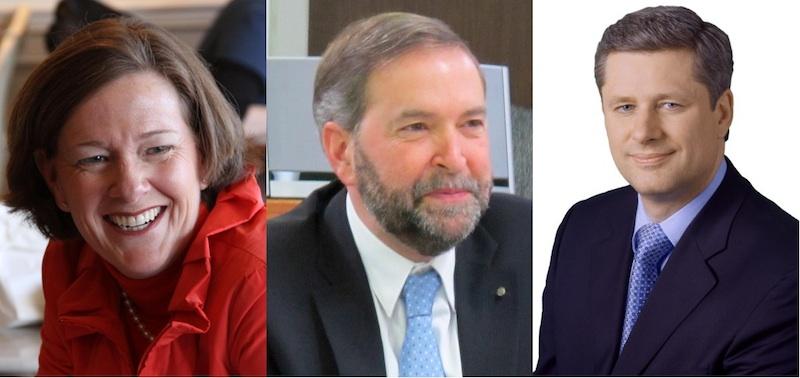 Premier Alison Redford, NDP leader Thomas Mulcair, Prime Minister Stephen Harper
