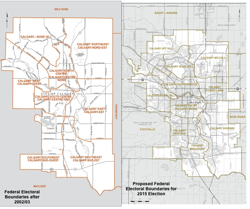 Map of Calgary Federal Electoral Boundaries 2004 and 2015 proposed