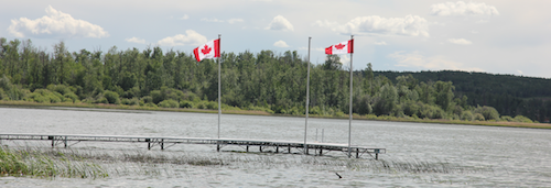 Canada Flag Alberta Lake
