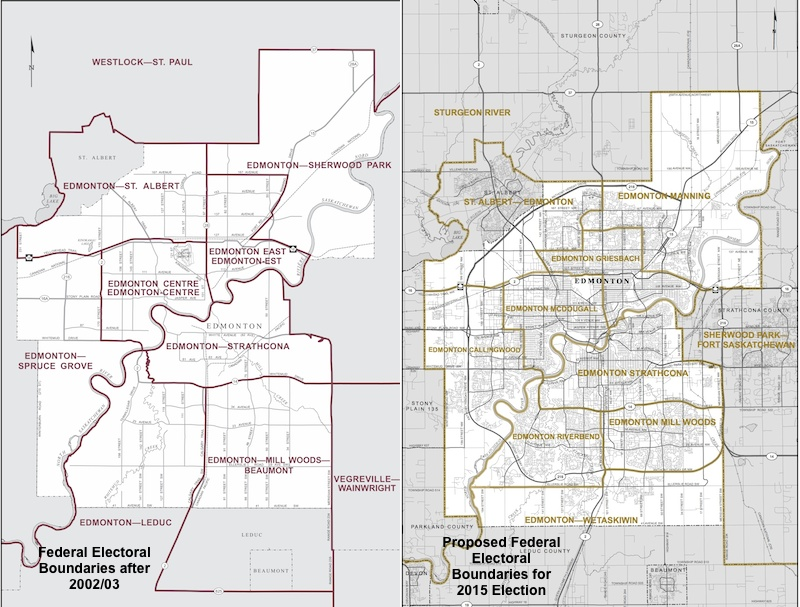 Map of Edmonton Federal Electoral Boundaries 2004 and 2015 proposed