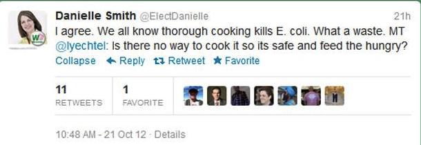 Danielle Smith XL Foods Beef Tweet