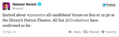 Mayor Naheed Nenshi's tweet Joan Crockatt