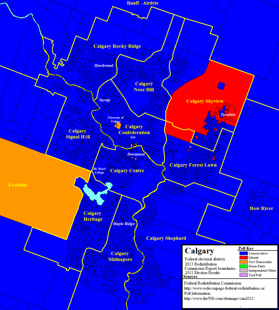 New federal riding boundaries in Calgary with poll-by-poll results from the 2011 election.