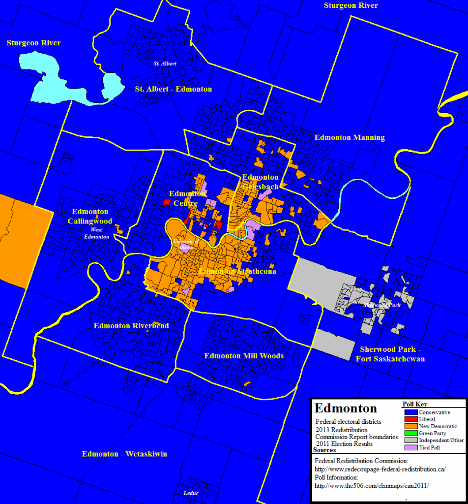 New federal riding boundaries in Edmonton with poll-by-poll results from the 2011 election.