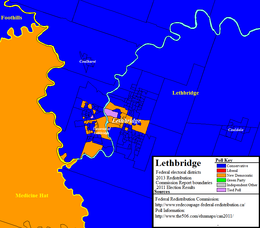 New federal riding boundaries in the Lethbridge area with poll-by-poll results from the 2011 election.