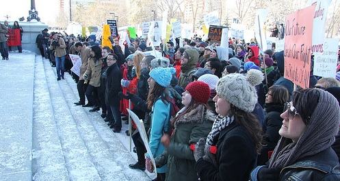 More than 600 students and staff from the University of Alberta rallied against budget cuts in front of the Alberta Legislature.