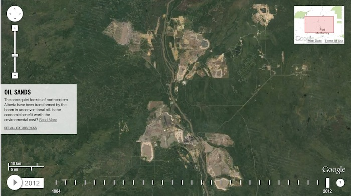 Oilsands operations north of Fort McMurray in 2012 (from world.time.com/timelapse/)
