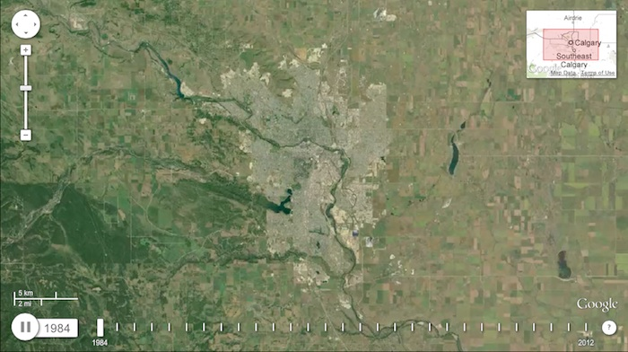 Satellite image of Calgary 1984 (from world.time.com/timelapse/)