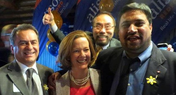 Celebrating one-year since the 2012 Tory victory: Moe Amery, Premier Alison Redford, Wayne Cao, and Peter Sandhu.