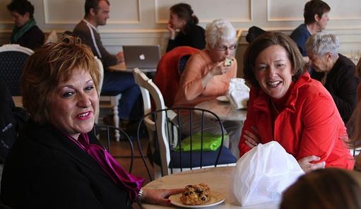 Culture Minister Heather Klimchuk and Premier Alison Redford at Duchess Bakeshop in Edmonton.