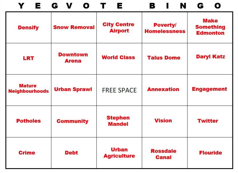 Edmonton Election Bingo