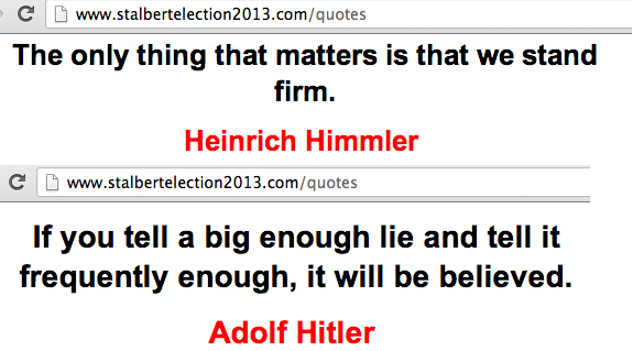 "Very poorly chosen ""famous quotes"" on the St. Albert Election Action Committee website."