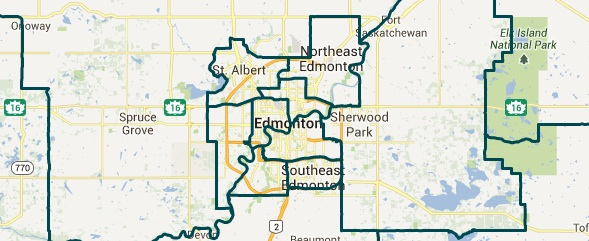 Edmonton's 2015 electoral districts as recommended by the Electoral Boundary Commission Final Report.