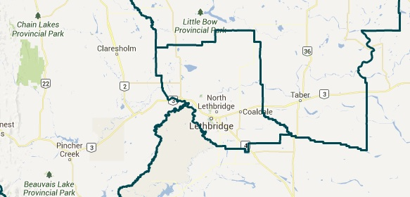 Lethbridge and southern Alberta 2015 electoral districts as recommended by the Electoral Boundary Commission Final Report.