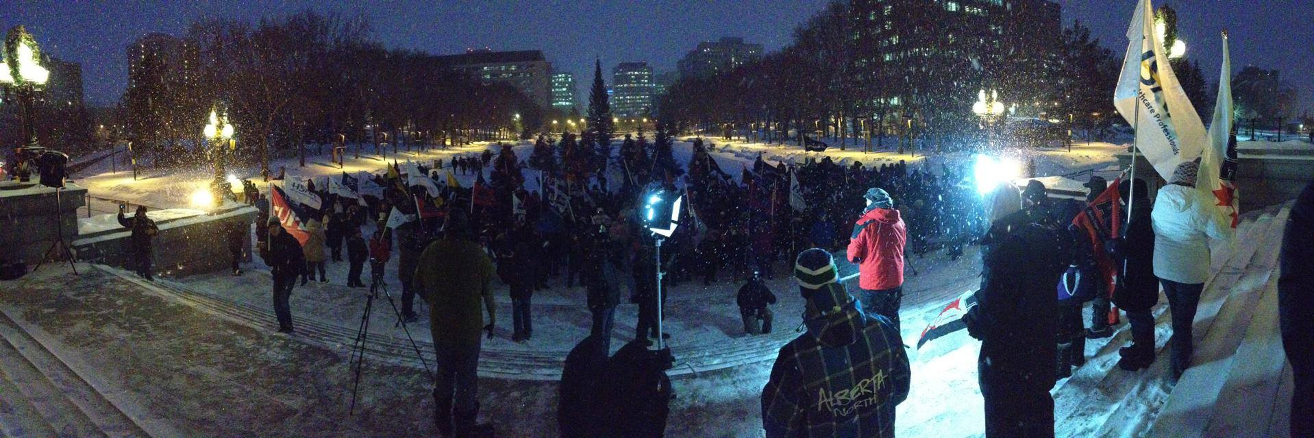 More than 500 Albertans gathered on the steps of the Alberta Legislature to oppose Bills 45 and 46 on Monday, December 2, 2013.