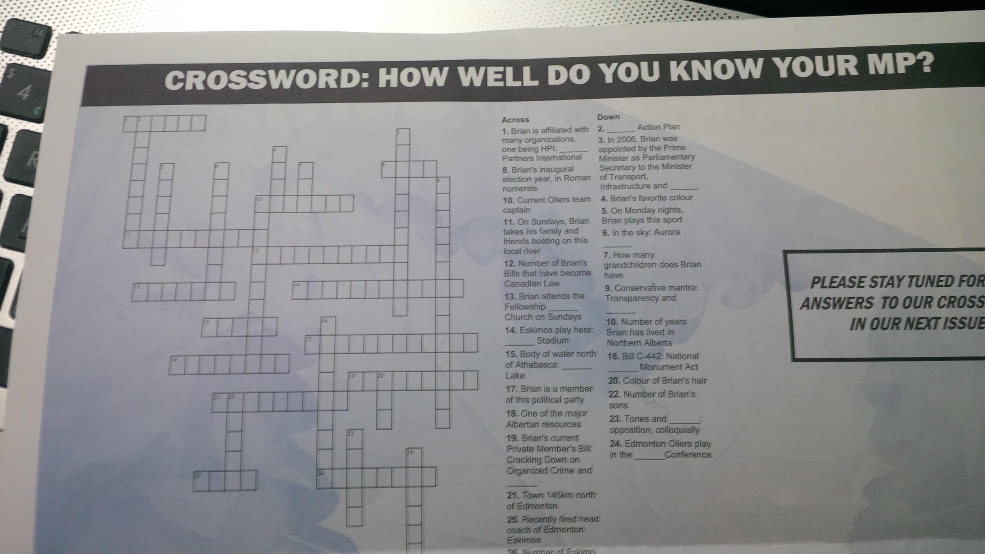 The MP Brian Jean Crossword Puzzle