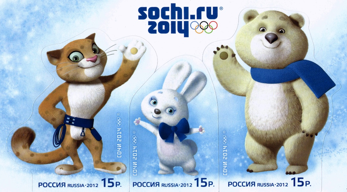 The mascots for the Sochi 2014 Olympic Games.