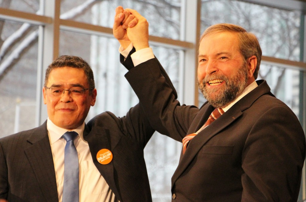 Edmonton-Centre NDP candidate Lewis Cardinal and NDP leader Thomas Mulcair in Edmonton on March 26, 2014.